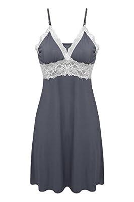 Ekouaer Womens Seamless V-neck Lace Long Cami Slip Dress Loungewear, Gray, Small