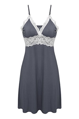 Ekouaer Womens Chemise Lingeire Nightgown Rayon Sleepwear,Viscose-gray,Medium