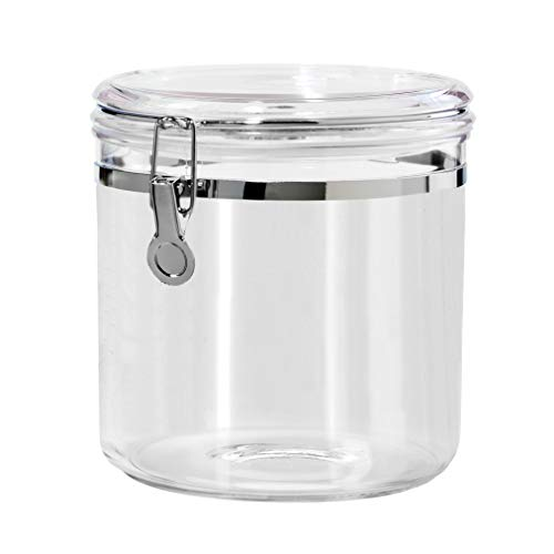 Oggi Jumbo Acrylic Airtight Canister with Clamp, 150-Ounce ,Clear