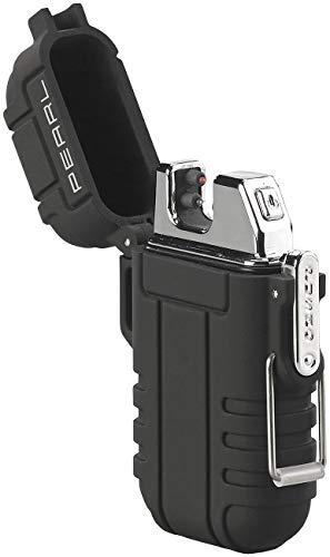 PEARL Sturmfeuerzeug: Elektronisches Feuerzeug mit doppeltem Lichtbogen, Akku, IP56, schwarz (Electric Lighter)