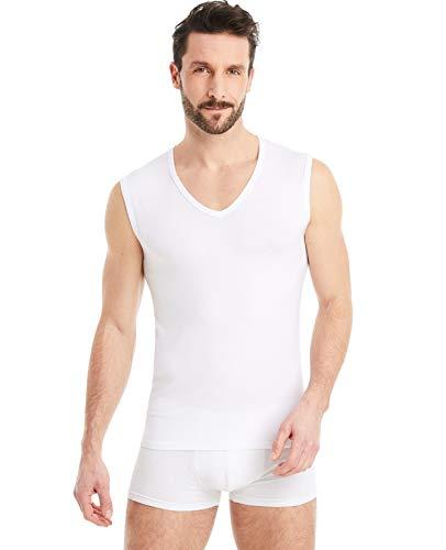 FINN Business Herren Unterhemd Ärmellos mit V-Ausschnitt Micro-Faser Tank-Top Männer Weiß Weiss L