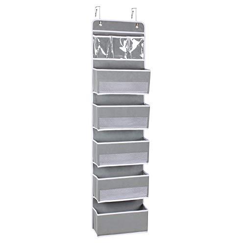 Univivi Over Door Hanging Organizer Storage with 5 Large Pockets and 3 Small PVC Pockets for Cosmetics Wall Hanging Storage Organizer for Pantry Baby Nursery Bathroom Closet Dorm, (Grey)