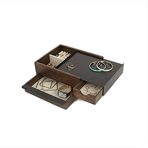 QIFFIY Caja de joyería de Madera, Collar Pulsera joyería Caja de Almacenamiento, Caja de joyería de niña Caja de Almacenamiento de Gran Capacidad 25.2 * 20.5 * 11 cm (Color : Walnut Color)