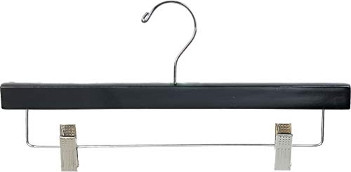 The Great American Hanger Company Wooden Bottom w/Clips, Black Finish with Chrome Hardware, Box of 25 by The American Company Standard Hanger, Large, Piece