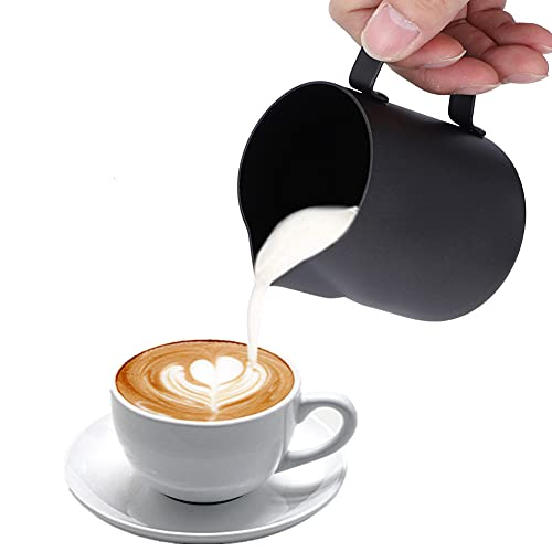Jarra Leche Cafetera, 12oz/350ml Jarra Leche Barista Jarra Leche Acero Inoxidable para Café y Latte Art, Negro