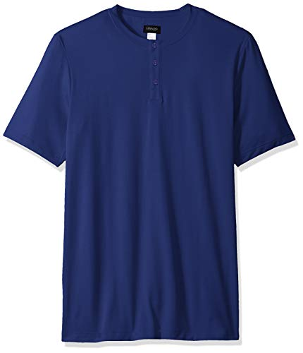Hanro Herren Night and Day Short Sleeve Henley Shirt Pyjama-Oberteil (Top), blau (Brilliant Blue), Small