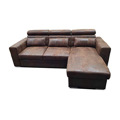 Reboz Couch Schlafsofa Maggio Vintage Stoff Wildleder Schwarz Anthrazit Braun Ecksofa (Vintage Braun)