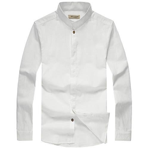 MYXUAA Camicie da Uomo Manica Lunga Formale Colletto Permanente per Tailleur da Sposa Casual Slim-Fit-White-L