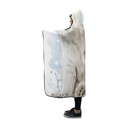 YXUAOQ Mit Kapuze Decke Eisbär Malerei Decke 60 x 50 Zoll Comfotable Hooded Throw Wrap