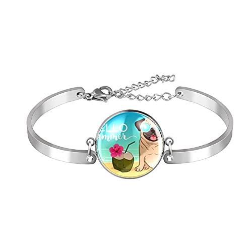 Pulsera, brazalete de acero inoxidable brazalete de regalo de joyería puño pulido estilo de caja de regalo de moda Gafas de sol Pug Gafas de sol Playa Ocean Coco para hombres mujeres