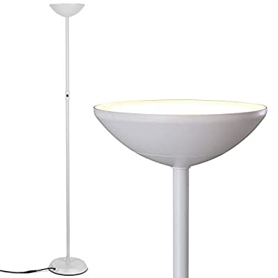 Brightech Sky Lite LED Torchiere Floor Lamp 24-Watt Ultra-Bright Power-Saver with Built-in Dimmer, Alpine White