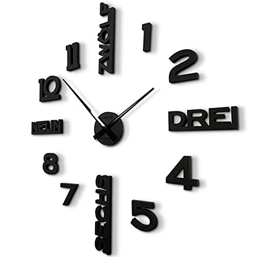 Gran reloj de pared moderno para pegar en negro o gris, diámetro 100 cm – 130 cm, XXL para salón, dormitorio, pasillo, oficina (negro)
