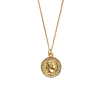 Carved Gold Coin Pendant Necklace for Women Girls Men 925 Sterling Silver 18K Gold Plated Simple Round Chain GoddessWorship Celebrity Medal ReversibleKeepsake Chic Choker Fashion Jewelry Gifts Box