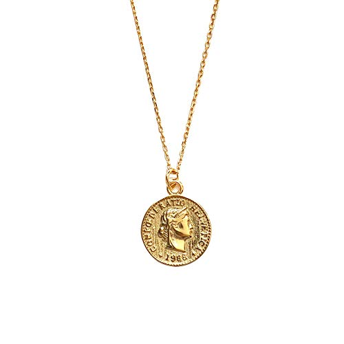 Carved Gold Coin Pendant Necklace for Women Girls Men 925 Sterling Silver 18K Gold Plated Simple Round Chain Goddess Worship Celebrity Medal Reversible Keepsake Chic Choker Fashion Jewelry Gifts Box