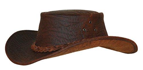 Kakadu Australia Chapeau d'extérieur en cuir avec bord malléable Marron - - Small