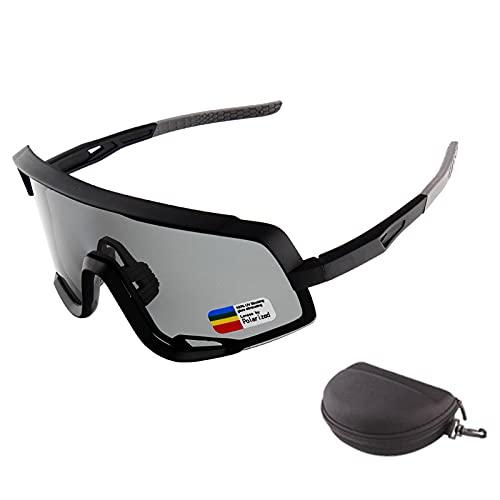 HVW Gafas De Ciclismo Polarizadas, Gafas De Seguridad MTB Gafas De Sol Deportivas Anti-UV400 para Hombres Mujeres Conducción Béisbol Correr Pesca Conducción Golf,Negro