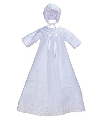 Cinda Bébé Manches Longues en Satin de baptême Longue Robe et Le Chapeau Blanc 0-3 Mois