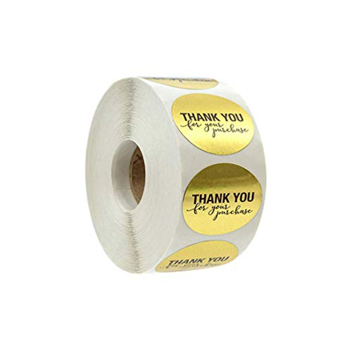 STOBOK 1 rulle tack för ditt köp klistermärke runda självhäftande förpackningsklistermärken avtagbara etiketter för kuvert kaka presentkort guld