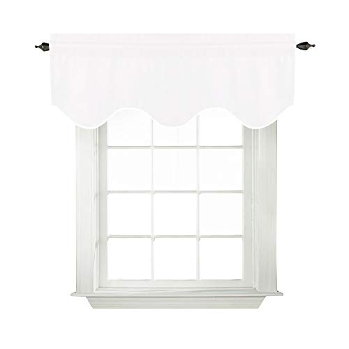 TURQUOIZE Solid Room Darkening White Valance, Short Tier Curtains, Scalloped Window Treatment, White, 52-inch by 18-inch, 1 Panel