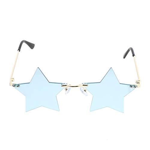 TOYANDONA 1 Pieza de Moda Gafas de Sol con Forma de Estrella Gafas de Sol con Personalidad Onduladas sin Montura para Unisex- Gafas de Fiesta para Adultos Azul Cielo