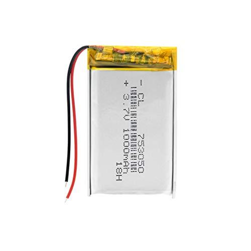 1 unids 3.7 V 1000 mAh 753050 batería recargable Li-Po Polímero, para MP3 Mp4 Cámara Banco de Energía Bluetooth Micrófono Bicicleta Luz Trasera Led