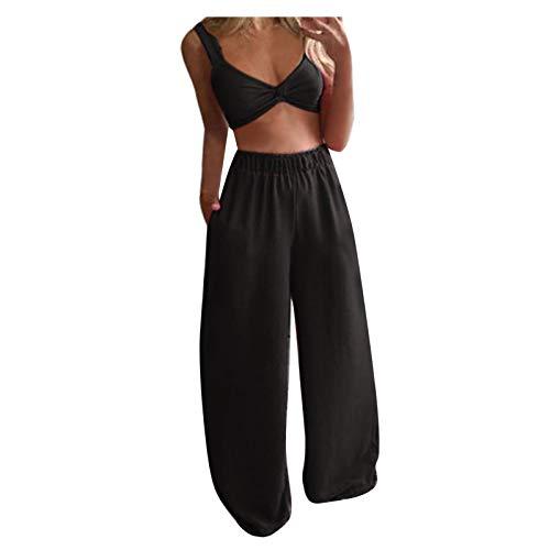Tops Pants Set Damen Lässig Solide ärmellose Camis Tops + Lange Hosen 2-teiliges Set (L,2schwarz)