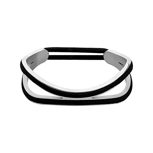 Double Channel Hair Tie Bracelet Holder for Women Stainless Steel Grooved Ponytail Holder Bracelet, Can Holds 2 Hair Ties (Double Hair -S)