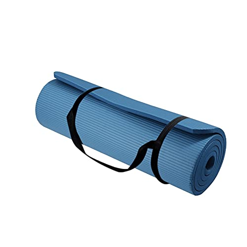 Youmymine Yoga Mat 10mm Thick Widened Non Slip Durable Portable Gym Exercise & Fitness Mat for Yoga, Pilates & Floor Workouts (Blue)