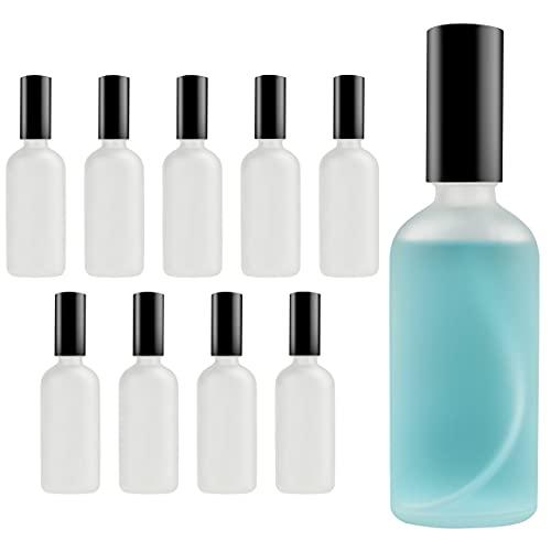 Belle Vous Frasco Vacío Pequeño Atomizador Perfume Cristal Esmerilado 100 ml (Pack de 10) Frascos para Perfume con Tapa - Rellenable Anti Derrame para Limpieza, Perfume, Bote Spray Aceites Ese