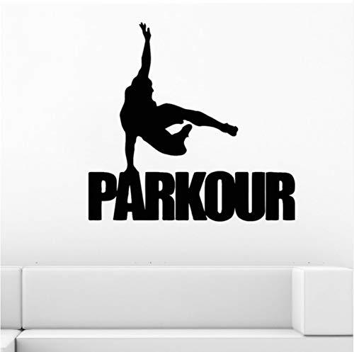 Ponana Parkour Wandtattoo Straße Sport Vinyl Aufkleber Gym Poster Dekor Kunstwand Teen Jungen Schlafzimmer Coole Dekoration Aufkleber 58X56 Cm