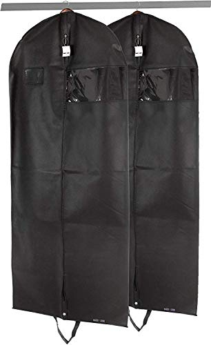 2 Pack Premium Quality Black Garment Travel and Storage Breathable Bag 26 inch x 42 inch x 5 inch with Zipper and Eye-Hole and Carry Handles for Folding for Suits Tuxedos Dresses Coats
