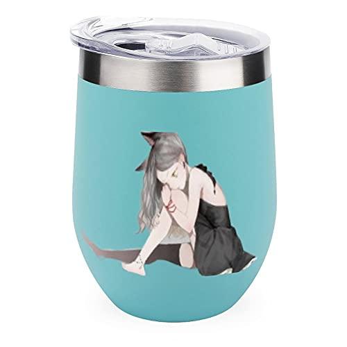 Vaso de vino Neko-Kawaii-White-Anime-Sweet-Lind-dressYHO - Vaso de vino para hombres y mujeres, vaso de vino con refranes divertido, personalizable, día de Navidad, verde de 12 onzas