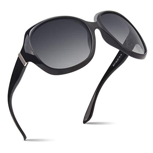 CGID Polarisierte Sonnenbrille für Damen Sonnenbrillen für Frauen Oversized Polaroid-Gläser UV400 Schutz Getönte Brille 100% UV 400 Brille Klassische Metall Ornamente Schwarzer PC Rahmen