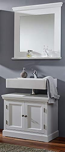 SAM 2 TLG. Badmöbel-Set Malibu, Paulowniaholz, weiß lackiert, je 1 x Waschbeckenunterschrank & Spiegel, Landhausstil, OHNE Becken