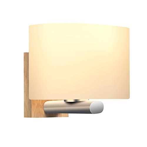 Apliques Pared Interior, Awebb Luz Aplique Baño LED Moderno Madera para Escalera, Pasillo, Salón (Incluye una bombilla LED E27)