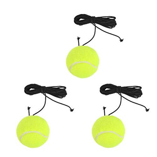 TIMESETL Pelotas de tenis de 3 piezas con cuerda, pelota de entrenamiento de tenis elástica para entrenadores de tenis, pelota de rebote para niños, adultos, principiantes, entrenamiento en solitario