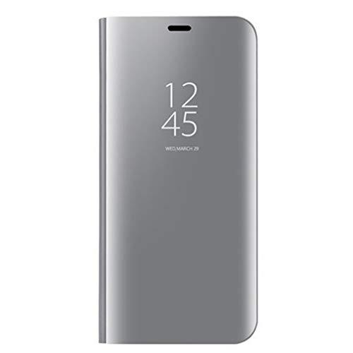 HAOYE Cover per Realme 5 PRO, Custodia con Specchio Curvata, Smart View Mirror Flip Cover, Clear View Standing Flip Case. Argento