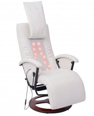 Festnight Shiatsu Massagesessel Relaxsessel Massagestuhl aus Halb PU mit 14 Massagepunkte Sitzkomfort Weiß