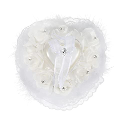 HechoVinen Anillo de boda, cojín para anillo de boda, con diseño de rosa y brillantes, decoración con forma de corazón, con lazo