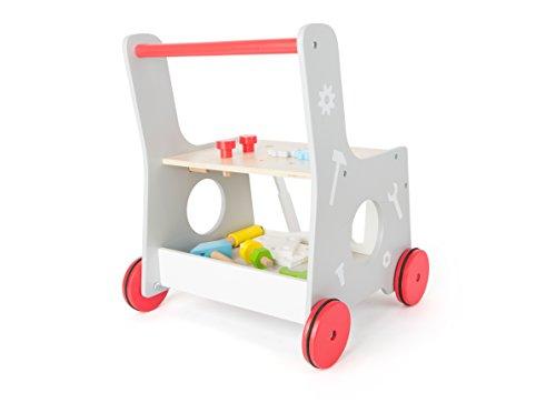 2 in 1 Lauflernwagen Werkzeug Werkstatt Lauflernhilfe Steckspiel mit Gummibereifung 34 x 36 x 44 cm, 13-teiliges Zubehör - 2
