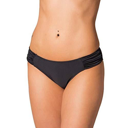 Aquarti Damen Bikinihose mit seitlichen Raffungen, Farbe: Schwarz, Größe: 36