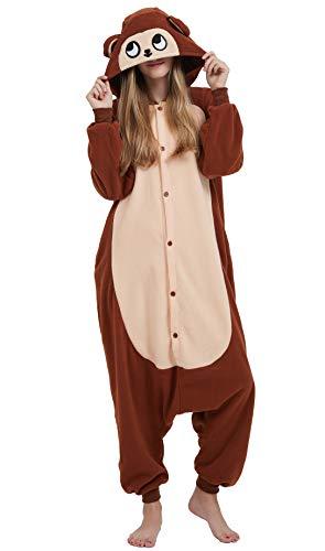 Jumpsuit Onesie Tier Karton Fasching Halloween Kostüm Sleepsuit Cosplay Overall Pyjama Schlafanzug Erwachsene Unisex Lounge Kigurumi,L,Brown Affe 1