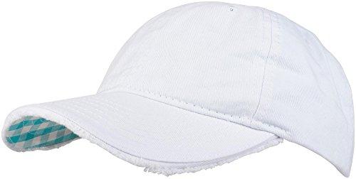 styleBREAKER Vintage Baseball Cap mit Karierter und gefütterter Unterseite, verstellbar, Unisex 04023048, Farbe:Weiß/Türkis-Weiß kariert