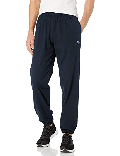 Champion Men's Closed Bottom Light Weight Jersey Sweatpant, Navy, Medium