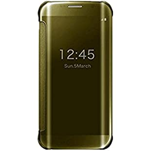 Qissy Samsung Galaxy S6 Edge case, Luxury PU Leather Flip Case Wallet Plating Back Protective Bumper Cover For Samsung Galaxy S6 Edge (Samsung Galaxy S6 Edge, Gold)