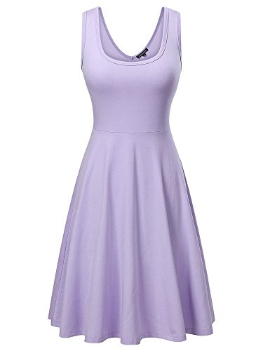 FENSACE Womens Sleeveless Scoop Neck Summer Beach Midi A Line Tank Dress, Purple, Small