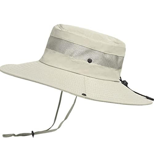 QIFFIY Sunhat Summer Transpirable Mess Sun Perrero Sombrero Hombre Pesca al Aire Libre Montajeerering Grandes Aleros Pescador Hat Mujeres (Color : Khaki)