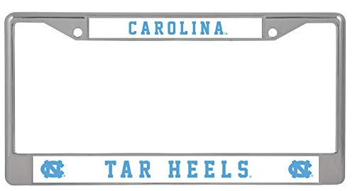 University of North Carolina UNC Tar Heels with Raised Letters Inserts on Metal License Plate Frame 2 Hole