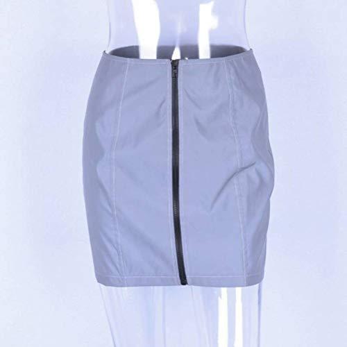 Justtime herfst vrouwen reflecterende rok voor vrouwen hoge taille reflecterende rok vrouwen herfst ritszak heuprok Large grijs