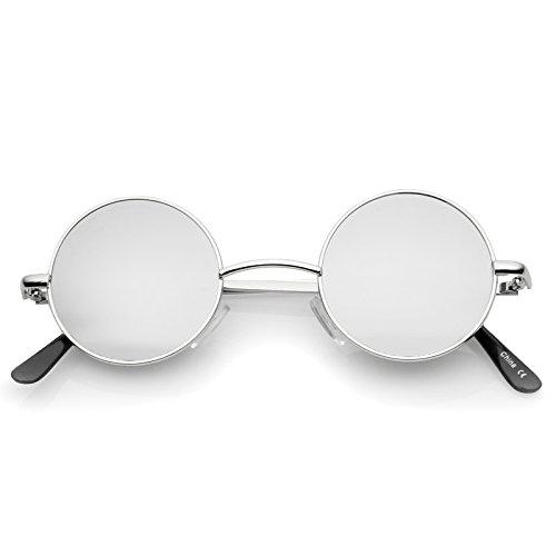 Small Retro Lennon Style Colored Mirror Lens Round Metal Sunglasses 41mm (Silver/Silver Mirror)